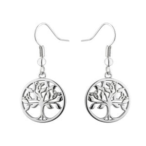 Tree of Life Rhodium Drop Earring