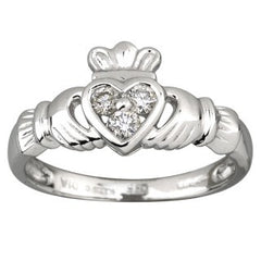 Claddagh Ring 14ct White Gold with Diamonds S2622