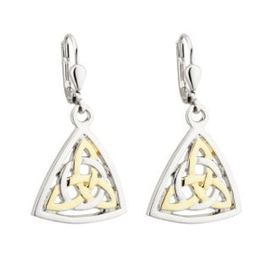 Trinity Knot Circle Drop Earrings 18ct Gold Plated Two Toned S33533
