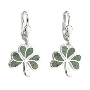 Shamrock Sterling Silver Connemara Marble Drop Earrings