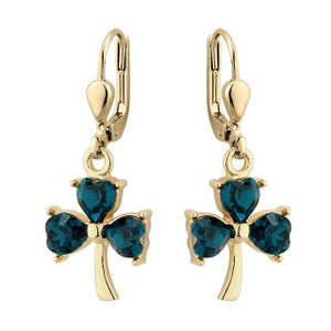 Shamrock Drop Earrings 18ct Gold Plate Green crystal.