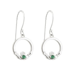 Acara Sterling Silver Claddagh Drop Earring with Green Crystal