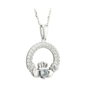 Claddagh  Birthstone Pendant December Sterling Silver with Stone Setting.