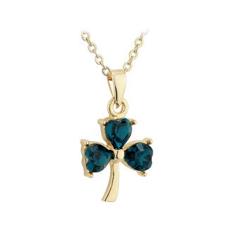 Shamrock Pendant 18ct Gold Plated with Green stone