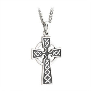 Celtic Cross Pendant Sterling Silver Double Sided with Chain S44761