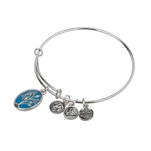 Rhodium Plate Enamel Tree of Life Bangle