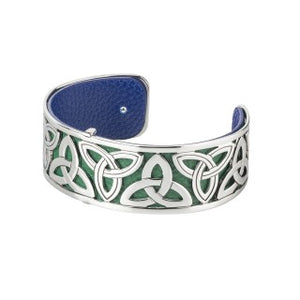 Trinity Knot Rhodium and Leather Bangle