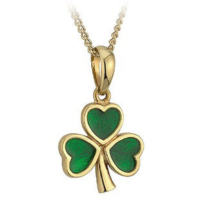 Shamrock Pendant Gold Plated Enamel Large S4617