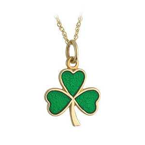 Shamrock 9ct gold Green enamelled Shamrock Pendant.