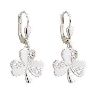 Sterling Silver Shamrock Drop Earrings.