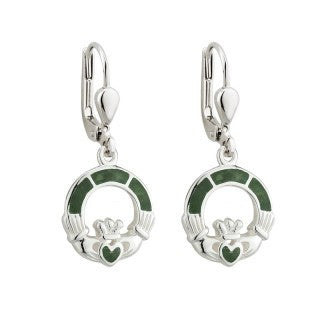 Claddagh Drop Earrings Connemara Marble Sterling Silver S33590