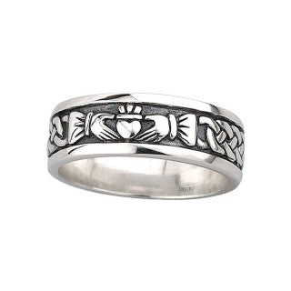 Claddagh Band Sterling Silver  Mens Ring.