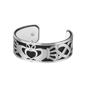Claddagh Rhodium & Leather Bangle.   NEW.