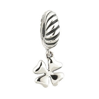 Charm Bead Four Leaf Clover Sterling Silver