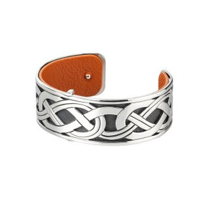 Celtic Knot Rhodium and Leather Bangle