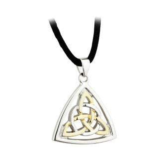 Trinity Knot Pendant Two Tone Rhodium Plated on a Cord S45513