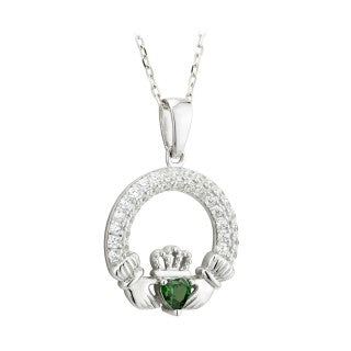 Claddagh Trinity Birthstone pendant May. Sterling Silver with Crystal Setting.