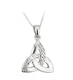 Trinity Knot Pendant Sterling Silver Engraved Celtic Design S44867