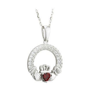 Claddagh trinity Birthstone Pendant January sterling silver with Crystal Stone Setting