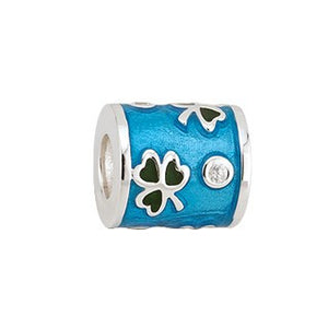 Charm Bead  Shamrock Green & Blue Enamel in Sterling Silver S80132