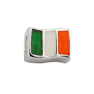 Charm Bead Irish Flag Tricoloured Enamel in Sterling Silver S80174