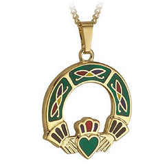Claddagh Pendant Hand Enamelled 18ct Gold Plated