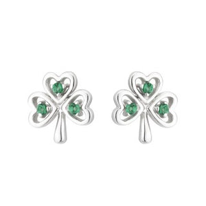 Acara Sterling Silver Shamrock Stud Earring with Green Crystal