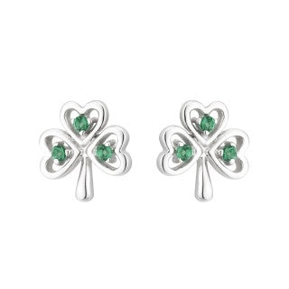 3f3ca00d0 Acara Sterling Silver Shamrock Stud Earring with Green Crystal - The ...