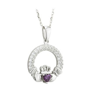 Claddagh Trinity BirthstonePendant February Sterling Silver with Crystal Setting