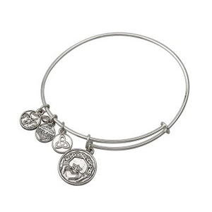 Rhodium Silver Toned Claddagh Bangle
