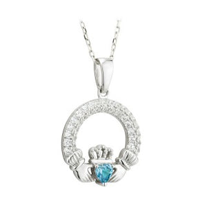Claddagh Trinity Birthstone Pendant March Sterling Silver with Crystal Setting