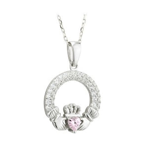Claddagh Birthstone Pendant October Sterling Silver with Stone Setting.