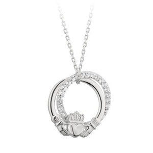 Claddagh Cubic Sterling Silver Circle Pendant.