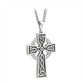 Celtic Cross Pendant Filigree Sterling Silver 30mm Double Sided S44784