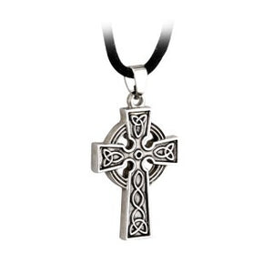Celtic Cross Pendant Pewter Style on a Cord S44610
