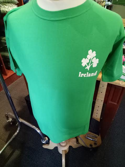 T Shirt Adult & Children Emerald Green with Shamrock