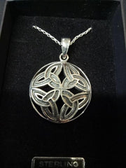 Trinity Knot Sterling Silver circular Pendant