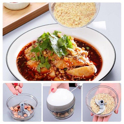 Cartoon Mini Manual Complementary Food Crusher, Hand-Drawn Multifunctional Garlic Food Chopper