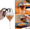 Honey Dispenser No Drip Glass with Stainless Steel Top - Syrup Dispenser Glass - Beautiful Honey Pot - Honey Jar with Stand($ 39 free shipping)