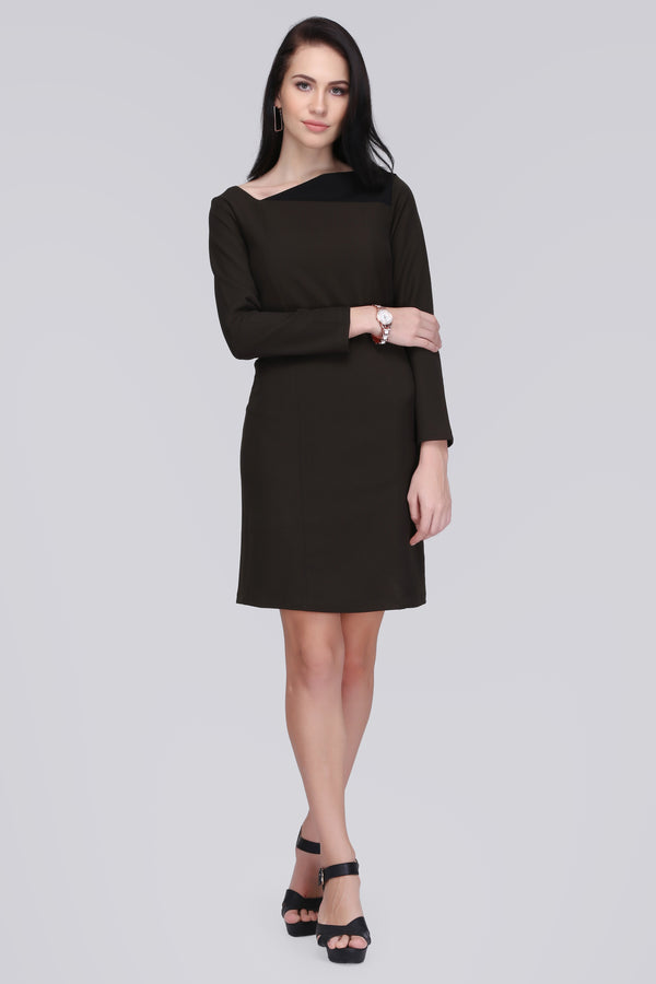 Contrast Neck Dress