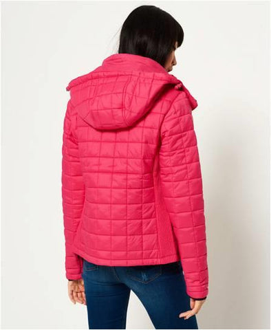 SUPER DRY HOODED BOX QUILTED FUJI JACKET