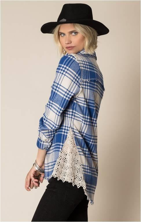 WHITE CROW LOST LOVE PLAID BLOUSE