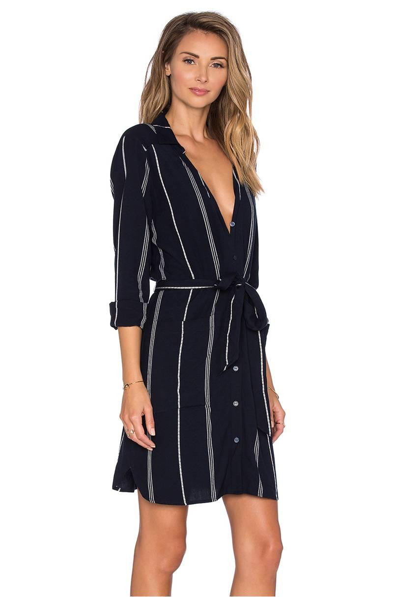 SANCTUARY ANNA BELTED CITY SHIRT DRESS NAVY WHITE STRIPE