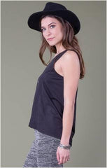 OTHERS FOLLOW FAUX SUEDE SLEEVELESS TANK BLACK