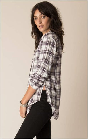WHITE CROW STAR WEST PLUM PLAID BLOUSE