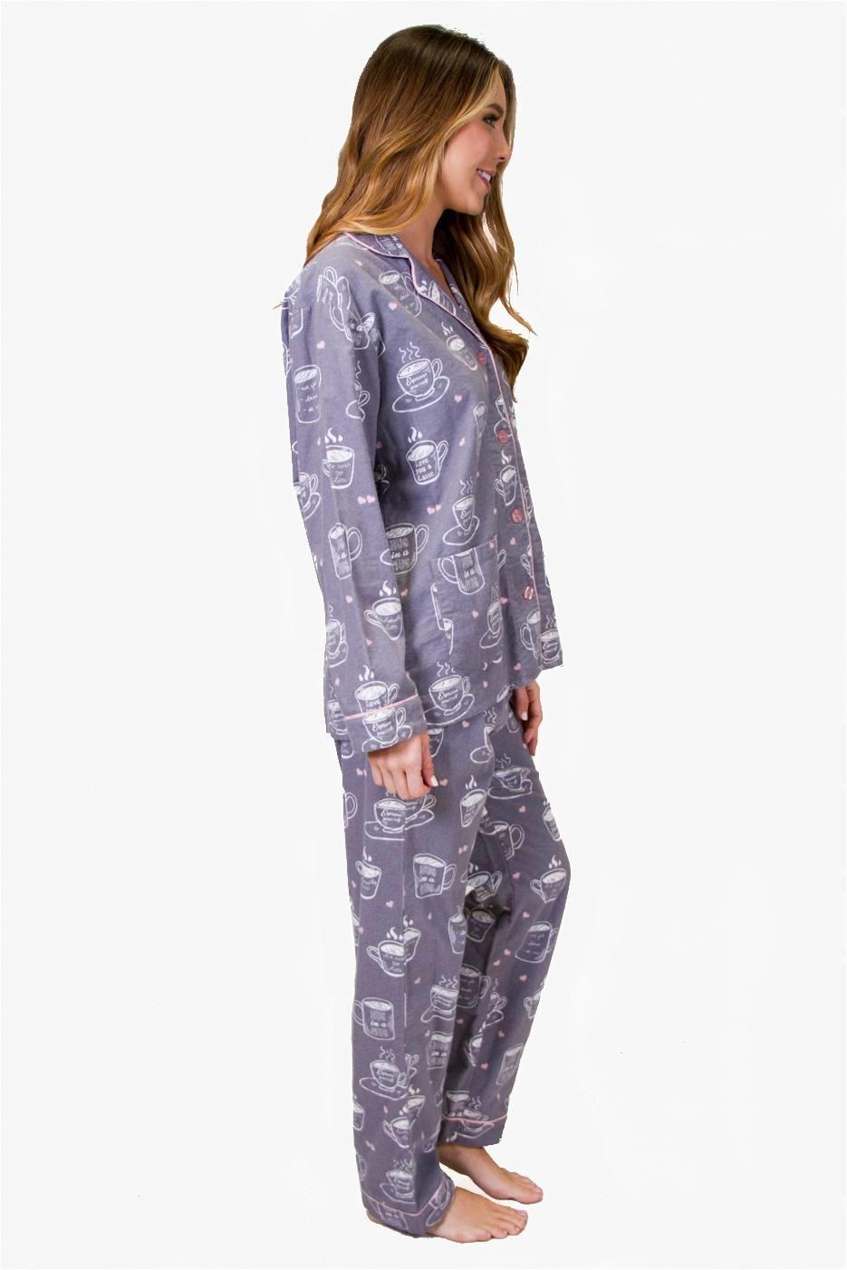 PJ SALVAGE FLANNEL BOYFRIEND PJS COFFEE TIME