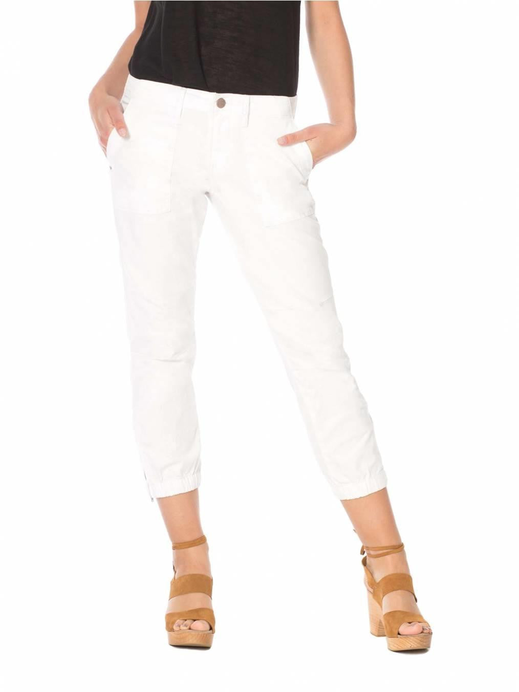 SANCTUARY PEACE TROOPER CROP PANT WITH ZIPPER IN WHITE