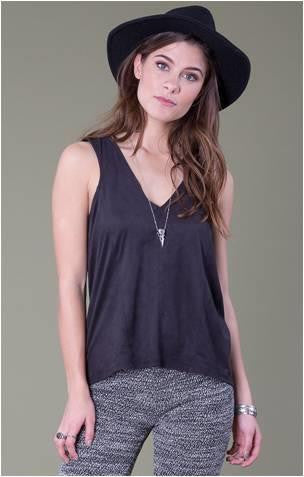 OTHERS FOLLOW LOCK & KEY FAUX SUEDE TANK
