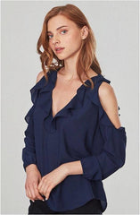 BB DAKOTA EATAN OIL SLICK RUFFLED COLD SHOULDER BLOUSE
