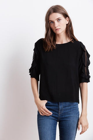 VELVET BY GRAHAM AND SPENCER WRENLEY RAYON CHALLIS BLACK TOP